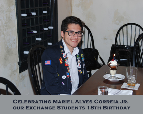 Celebrating Mariel Alves Correia Jr. our Exchange Students 18th Birthday
